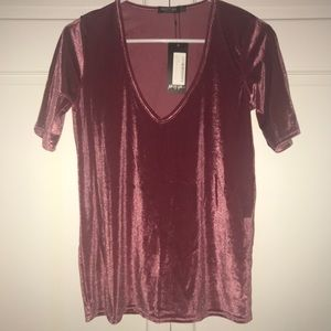 NWT Nasty Gal Velvet Short Sleeve V Neck Pink